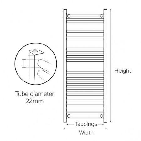 Kartell K-Rail 600 x 800mm White 22mm Curved Towel Rail Technical Information