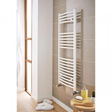 Kartell K-Rail 400 x 800mm White 22mm Curved Towel Rail Room View