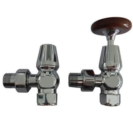 Kartell Traditional Radiator Valve Chrome (Pair)  | TRAD-ANG-C