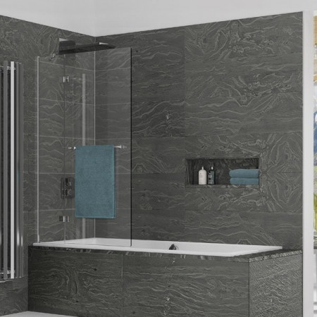 Kudos Inspire 2 Panel In-Swing Bath Screen with Towel Rail 1500 x 950mm LH - 8mm Glass