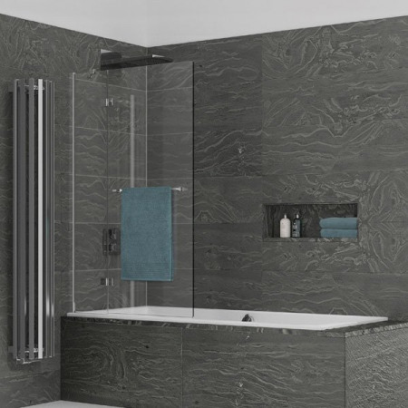 Kudos Inspire 2 Panel Out-Swing Bath Screen with Towel Rail 1500 x 950mm LH - 8mm Glass