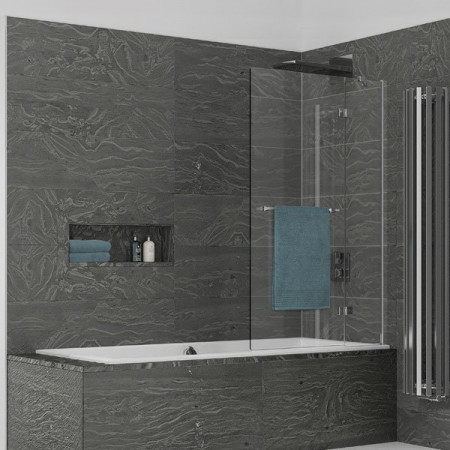 Kudos Inspire 2 Panel Out-Swing Bath Screen with Towel Rail 1500 x 950mm RH - 6mm Glass