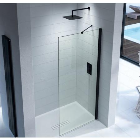 Kudos Ultimate 2 400mm Wetroom Panel 8mm Glass with Matt Black Profile