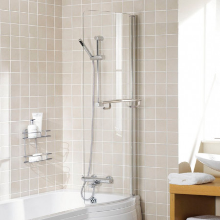Lakes Arc Bath Screen With Towel Rail