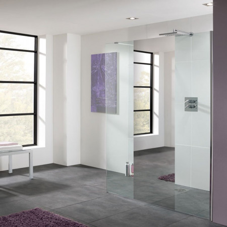 Lakes Coastline 1400mm Cannes Mirror Walk In Shower Panel