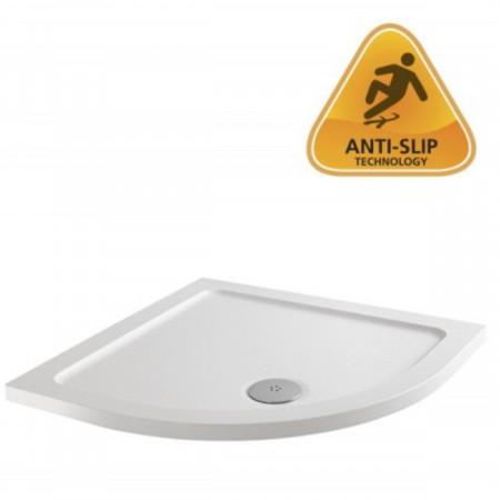 MX Elements 900 x 900mm Anti Slip Quadrant Shower Tray with 90mm Waste with anti-slip logo