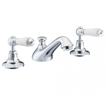 Marflow St James London Lever Three Hole Basin Mixer with Pop Up Waste