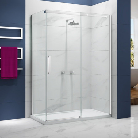 Merlyn Ionic Essence 1400mm Sliding Shower Door in corner setting