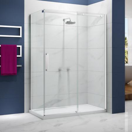 Merlyn Ionic Essence Frameless 1000mm Sliding Shower Door in corner setting
