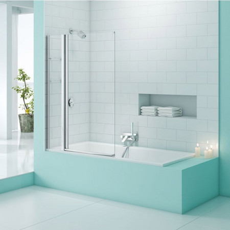 Merlyn SecureSeal Single Panel Bath Screen with Storage Life
