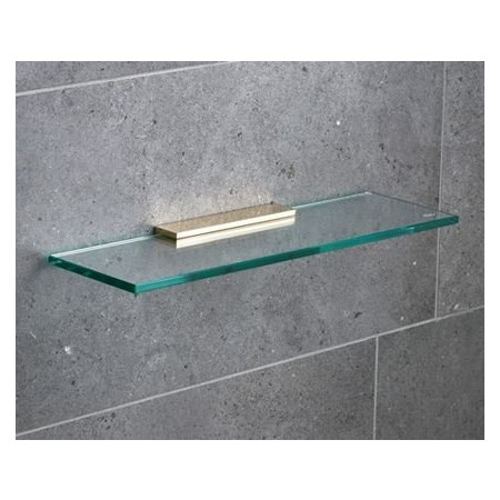 Miller 400mm Classic Glass Shelf with Polished Untreated Brass Fixing Bracket