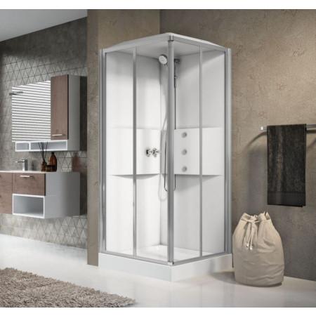Novellini 900mm Media Corner Shower Cubical & Shower Tray