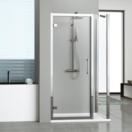 Novellini Kuadra G+1F In Line Hinged Door & 1 Panel 1500mm - 1560mm