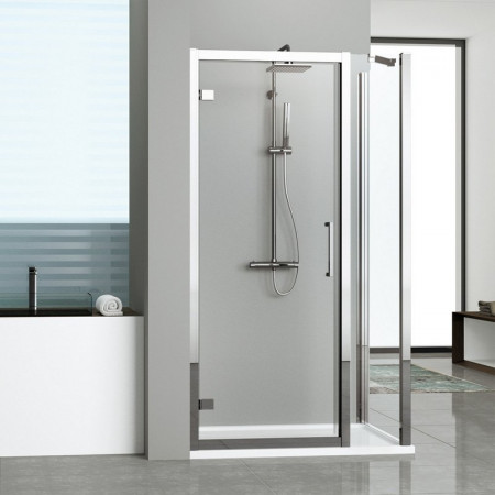 Novellini Kuadra G+1F In Line Hinged Door & 1 Panel 1440mm - 1500mm