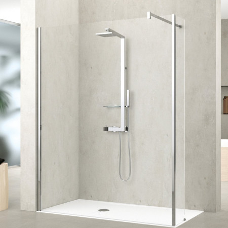 Novellini Kuadra H6 1370-1400mm Shower Panel & Deflector