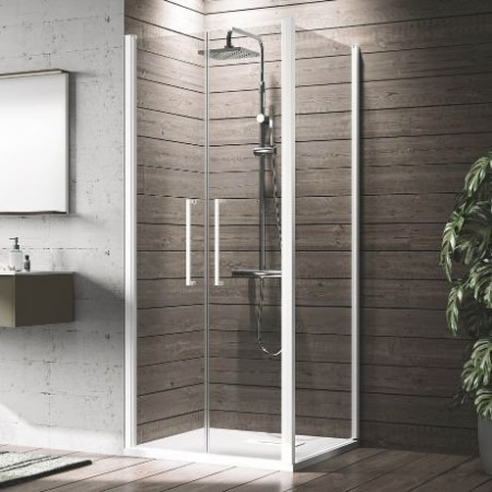Novellini Young 2B 1400mm Saloon Shower Door with Side Panel