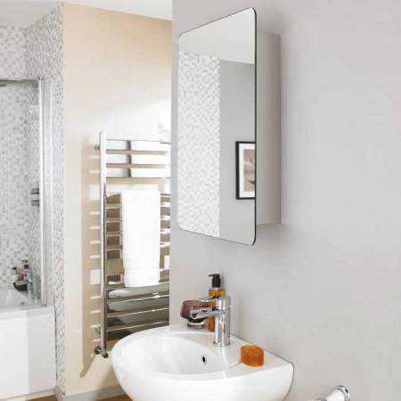 Premier Austin Stainless Steel Mirrored Cabinet