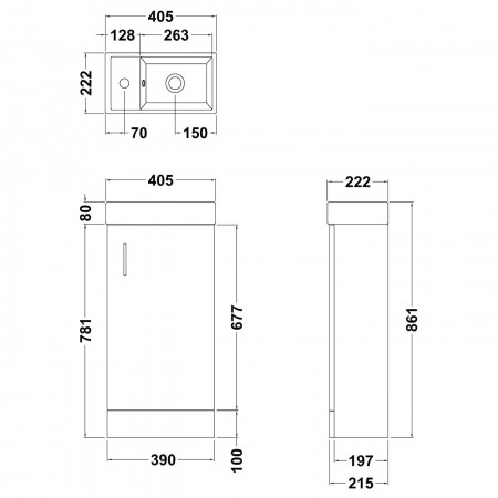 Premier Minimalist 400mm floorstanding gloss white vanity unit with basin