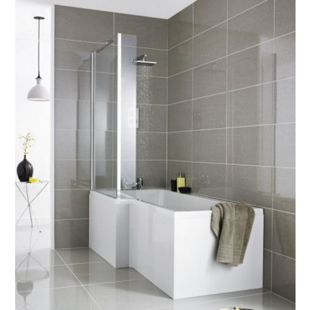 Premier Square 1700mm Left Hand Showerbath with Screen & Panel