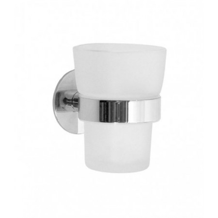 Smedbo Time Polished Chrome Holder with Frosted Glass Tumbler