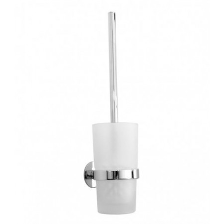 Smedbo Time Polished Chrome Toilet Brush with Wall Mounted Frosted Glass Container