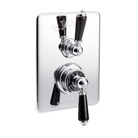 St James Concealed Thermostatic Shower Valve With Black London Levers