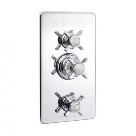 St James Concealed Thermostatic Shower Valve With Integral Flow Valves England Handles