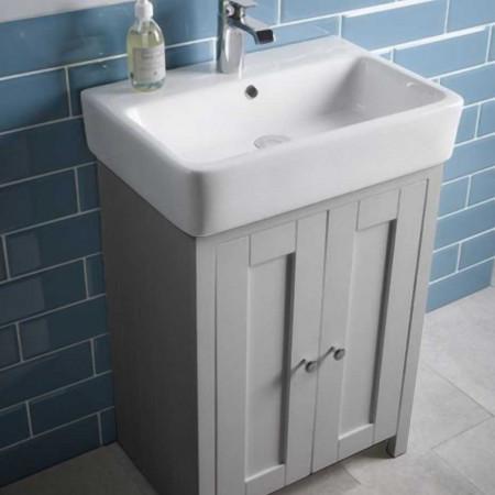 Tavistock Lansdown 550 Freestanding Unit Pebble Grey & Basin