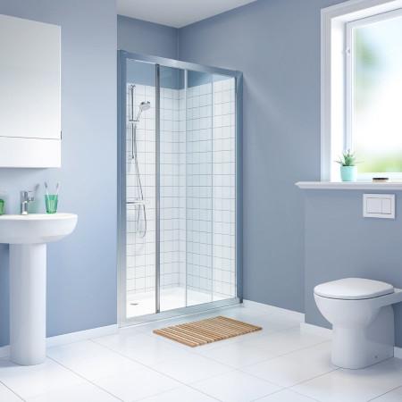 Twyford Geo 1400mm Sliding Shower Door - 6mm Glass-2