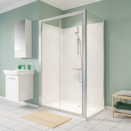 Twyford Geo 1400mm Sliding Shower Door - 6mm Glass-4