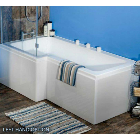 Ajax L Shaped 1700mm Shower Bath with Screen and Bath Panel Right Hand