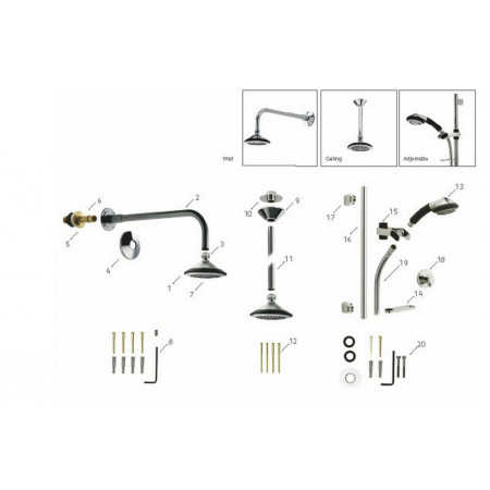 Aqualisa Axis Adjustable shower head wall outlet