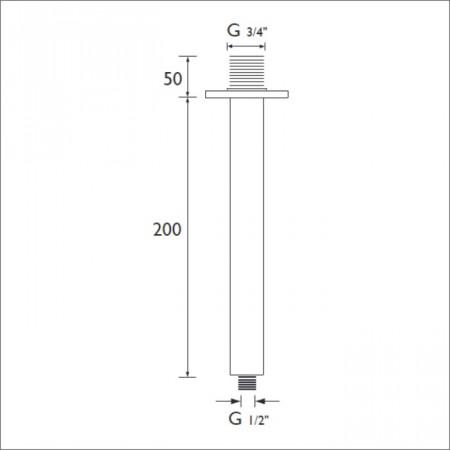 Bristan 200mm Round Ceiling Fed Shower Arm