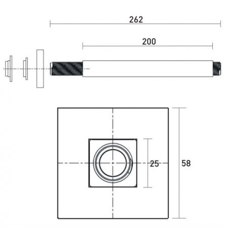 Bristan 200mm Square Ceiling Fed Shower Arm