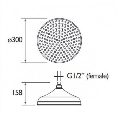 Bristan 300mm Traditional Fixed Shower Head