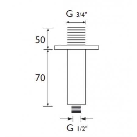 Bristan 75mm Square Ceiling Fed Shower Arm