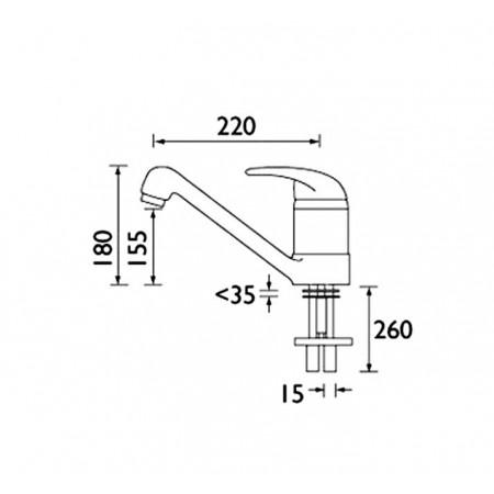 Bristan Java Single Flow Monobloc Sink Mixer in Steel