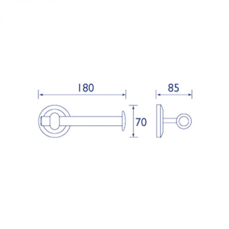 Bristan Solo Chrome Plated Bar Toilet Roll Holder Technical Drawing