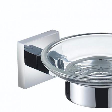 Bristan Square Chrome and Glass Soap Dish