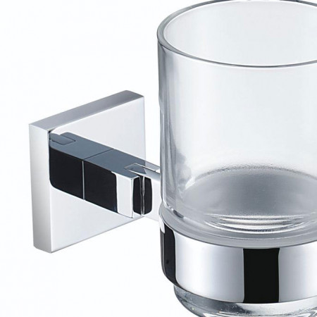 Bristan Square Chrome and Glass Tumbler and Holder