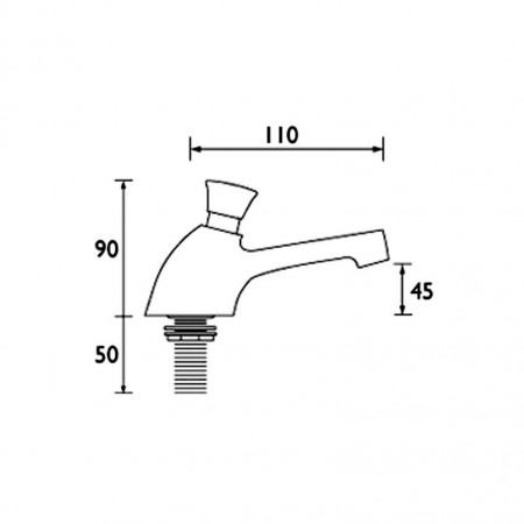 Bristan Utility Timed Flow Control, Single Basin Tap With Flow Regulator