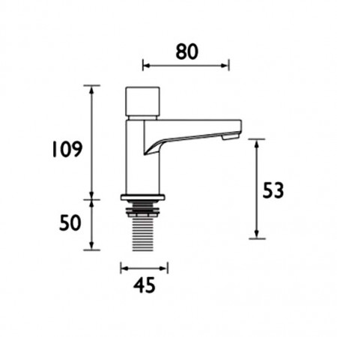 Bristan Utility Timed Flow Control, Single Pillar Basin Tap with Flow Regulator