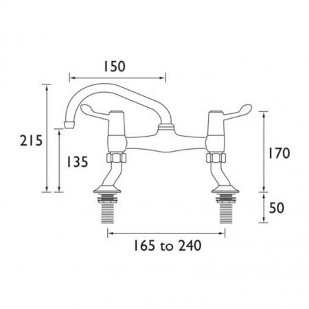 Bristan Value Lever Pillar Bridge Sink Mixer, Chrome Plated With Ceramic Disc Valves