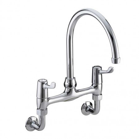Bristan Value Lever Wall Mounted Bridge Sink Mixer, Chrome Plated With Ceramic Disc Valves