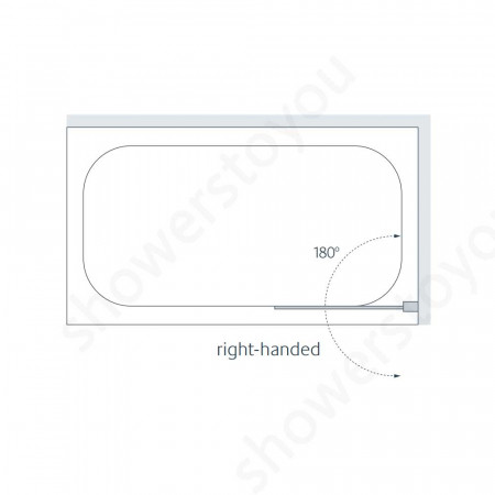 Lakes 800mm Mirror Curved Bath Screen Right Hand