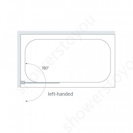 Lakes 800mm Mirror Square Bath Screen Left Hand