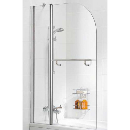 Lakes Bathrooms 1000mm Curved Double Bath Screen With Towel Rail