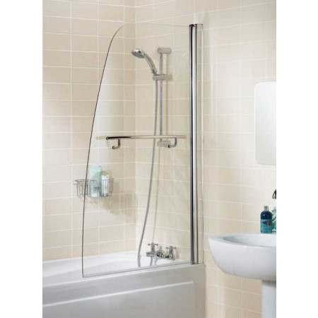 Lakes Bathrooms 860mm Sculpted Bath Screen With Towel Rail