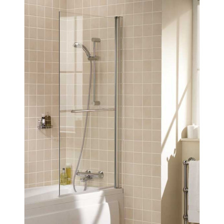 Lakes Square Bath Screen With Towel Rail 800mm