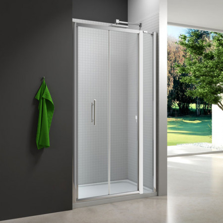 Merlyn 6 Series 1100mm Bifold Shower Door and small Inline Panel